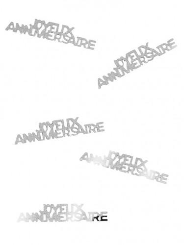 Confettis de table Joyeux Anniversaire argentés 15 g