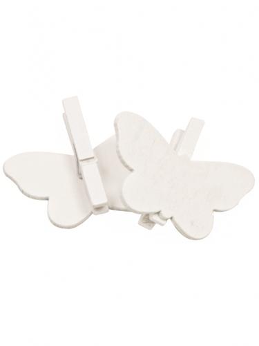 6 Pinces à linge papillons blancs