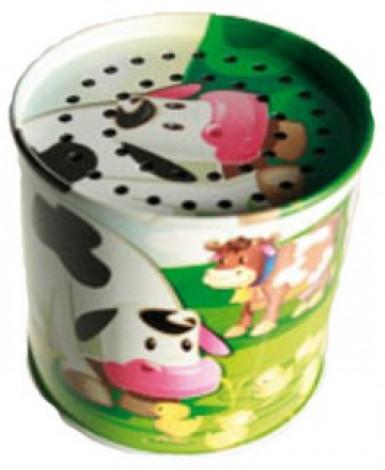 Boîte en métal avec voix de vache