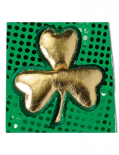 Cravate verte paillettée et trèfle dorée Saint-Patrick adulte-1