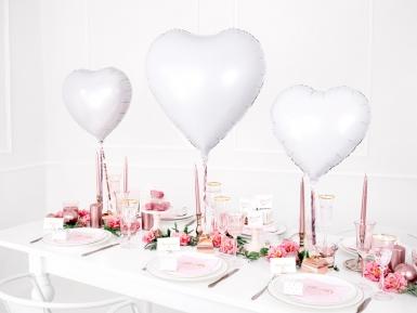 Ballon aluminium coeur blanc 45 cm-2