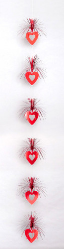 Décoration à suspendre coeurs rouges Saint Valentin