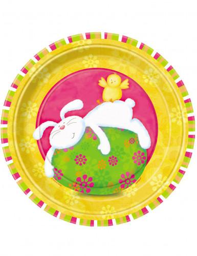 8 Assiettes en carton Lapin Rigolo 23 cm
