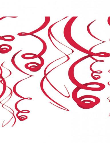 12 Décorations à suspendre rouge