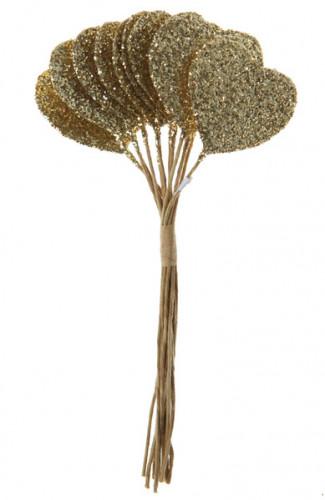 Bouquet de 12 coeurs dorés