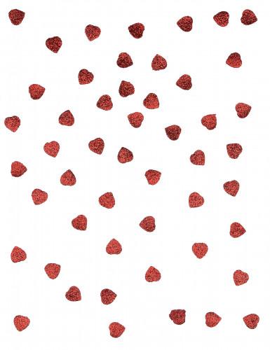 50 confettis coeur rouge pailletté-1