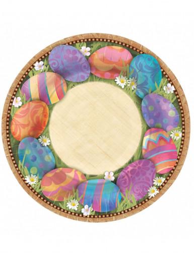 8 Grandes assiettes en carton de Pâques 27 cm