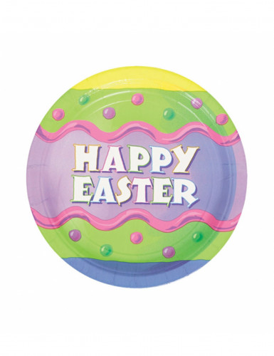 8 Petites assiettes en carton Happy Easter Pâques 18 cm