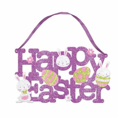 Pancarte Happy Easter à paillettes Pâques