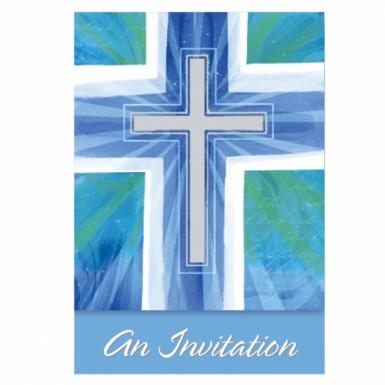 8 Cartons d'invitation communion bleus