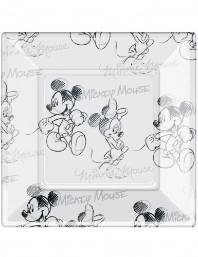 8 Assiettes carrées en plastique Mickey black and white™ 23 cm