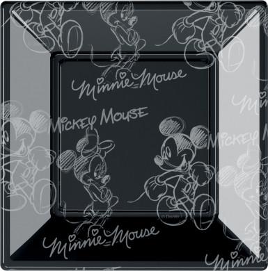 8 Petites assiettes carrées en plastique Mickey black and white™ 18 cm