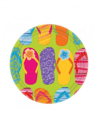8 Petites assiettes en carton Tongs Colorées 18 cm