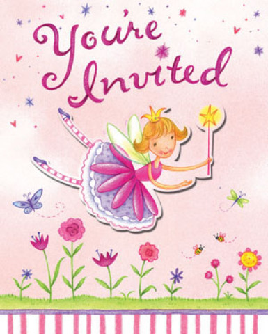 8 invitations carton Fée Printanière