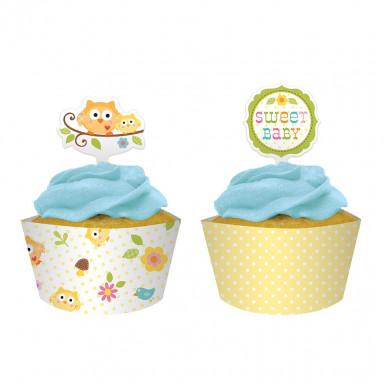 12 moules cupcake papier Petits Hiboux