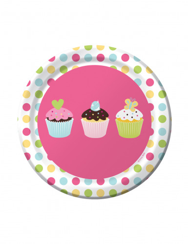 8 Petites assiettes en carton Cupcake Anniversaire 18 cm