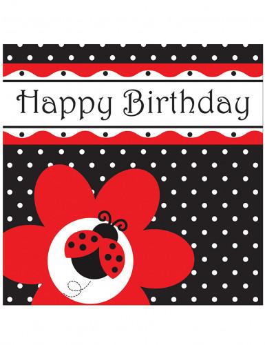 16 Serviettes en papier Happy Birthday coccinelle 33 x 33 cm