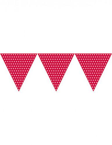 Guirlande fanions en papier rouge à pois blancs 2.7 m