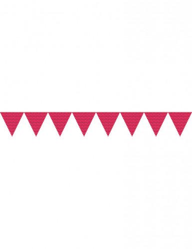 Guirlande fanions en papier rouge à pois blancs 2.7 m-1