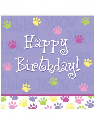 18 Serviettes en papier Happy Birthday pattes de chats 33 x 33 cm