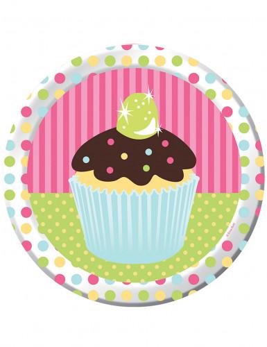 8 Assiettes en carton Cupcake Anniversaire 23 cm