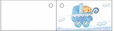10 étiquettes papier landau bleu Baptême Garçon