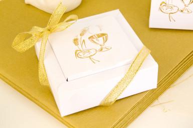 2 boîtes dragées carton Communion Blanc Doré-1