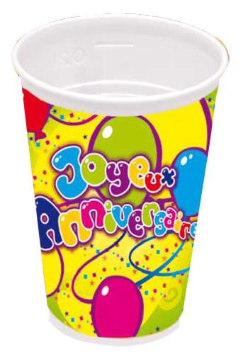 8 gobelets plastique joyeux anniversaie d coration anniversaire et f tes th me sur vegaoo party - Decoration gobelet plastique ...