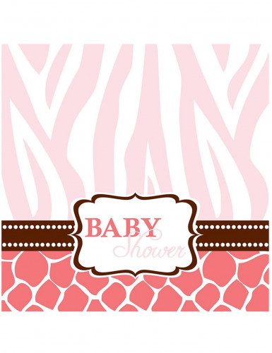 16 Serviettes 33 cm Baby Shower Safari Rose