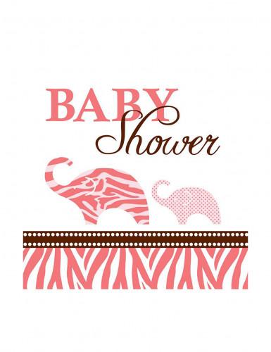 16 Petites Serviettes en papier Baby shower Safari Rose 25 x 25 cm