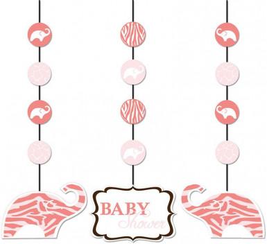 3 Suspensions Baby Shower Safari Rose