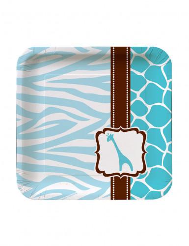 8 Petites assiettes en carton Girafe bleue 18 cm