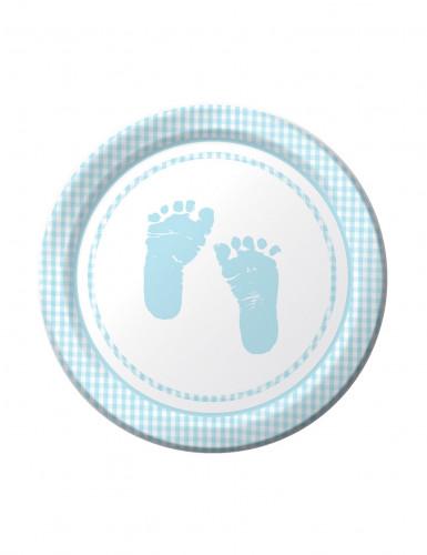 8 Petites assiettes en carton pieds bleus 18 cm
