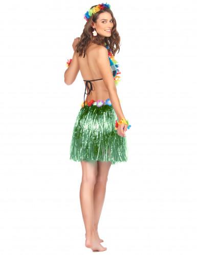 Jupe hawaïenne courte verte adulte-1