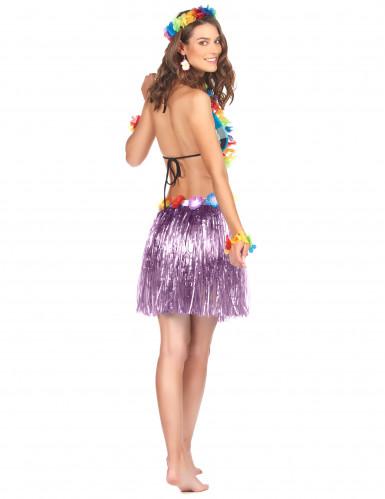 Jupe hawaïenne courte violette adulte-1