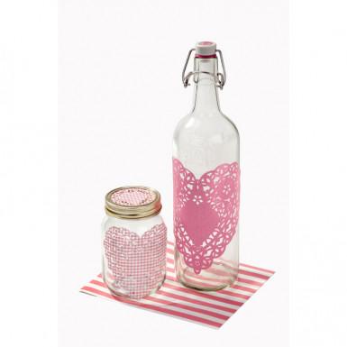 30 Napperons en papier roses Pink Party-1