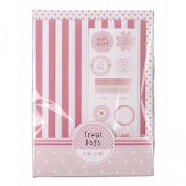 10 Sachets papier rayés roses et blancs Pink party-1