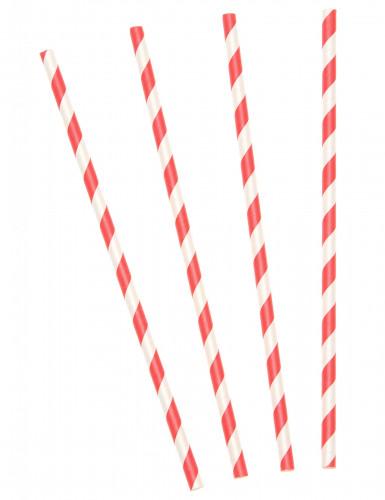 30 Pailles rétro rayées rouges et  blanches
