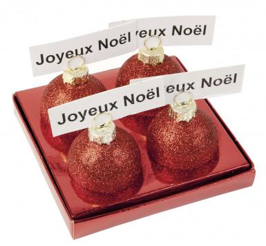 4 Boules de Noël rouges pailletés marque-places