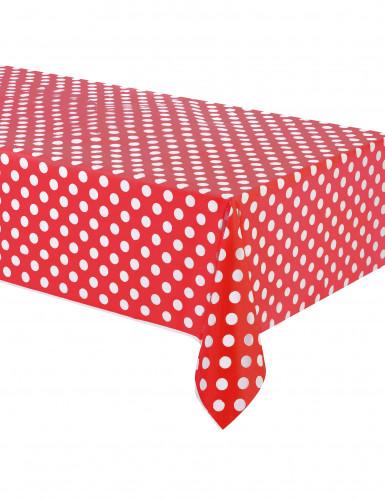 Nappe rouge à pois blanc plastique 137 x 274 cm