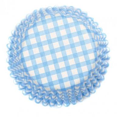 54 moules à cupcake à carreaux bleu et blanc