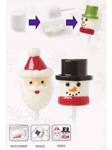 Moule pour chamallow Père Noël et bonhomme de neige-1