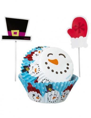 Set moules à cupcakes et pics de décoration Bonhomme de neige