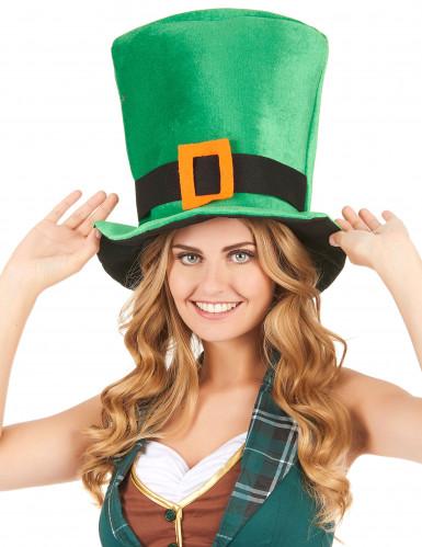 Chapeau velours vert Saint Patrick-1