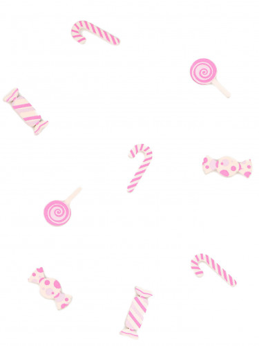 9 Confettis de table en bois Bonbon rose 3 cm