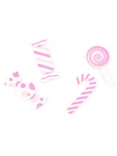 9 Confettis de table en bois Bonbon rose 3 cm-1
