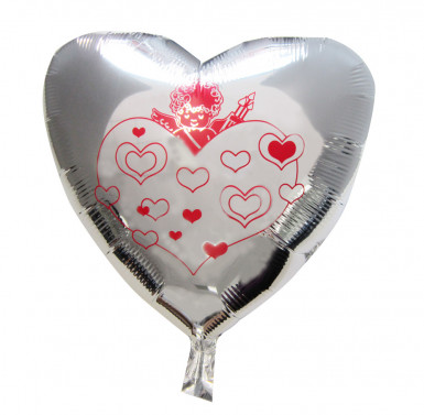 Ballon cœur argentés cupidon