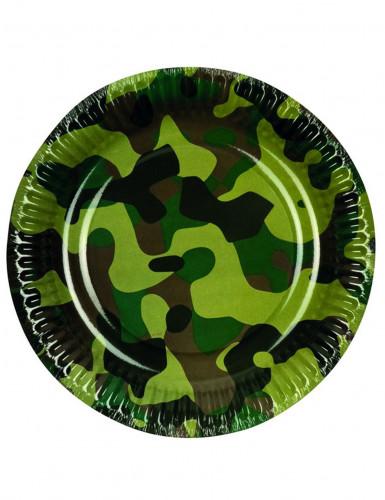 6 Assiettes en carton camouflage 23 cm