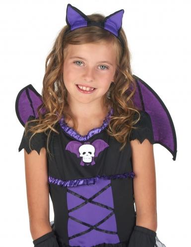 Déguisement chauve-souris noire et violette fille-5