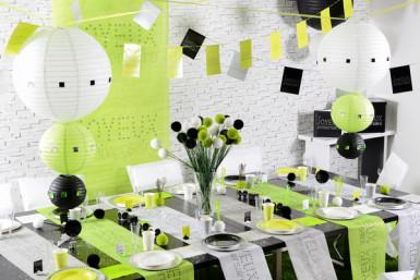 10 Assiettes blanches en carton Anniversaire Chic 23 cm-1